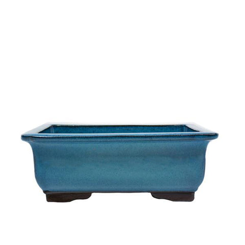 "10"" Yixing Blue Flecked Glazed Rectangular Pot"