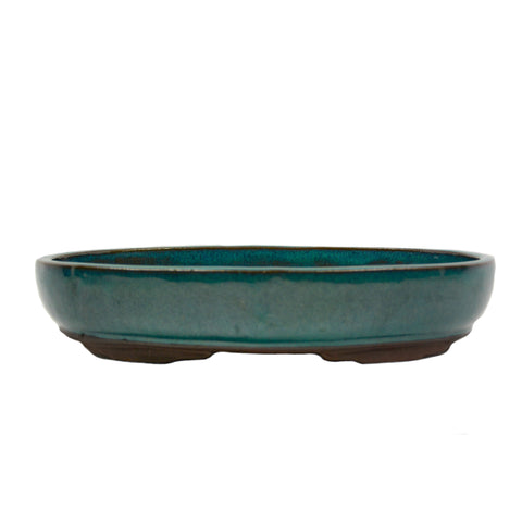 "11.8"" Yixing Green Glazed Oval Pot"