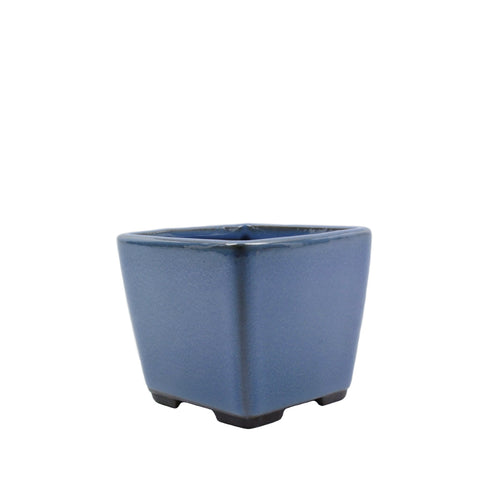 "3.4"" Tokoname Blue Square Glazed Pot"