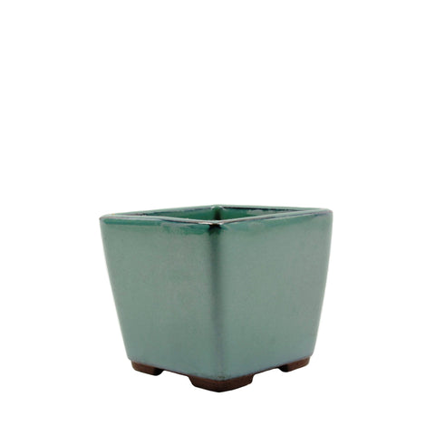 "3.4"" Tokoname Green Square Glazed Pot"