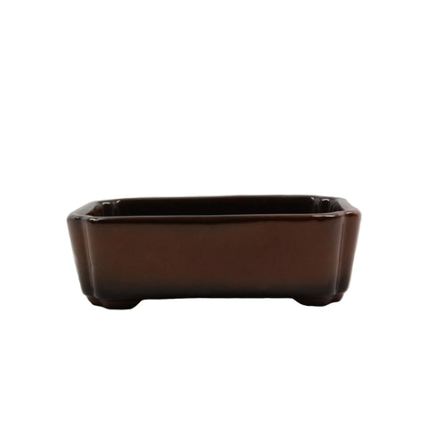 "4.1"" Tokoname Brown Ombre Rectangular Indented Corners Pot"