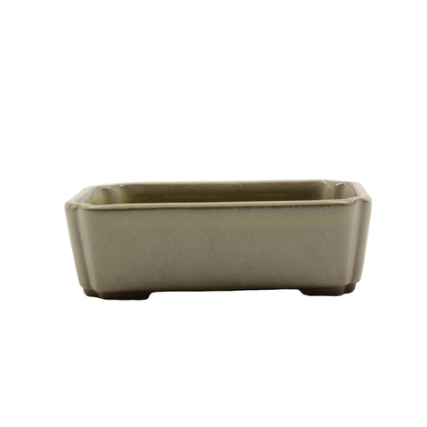 "4.1"" Tokoname Cream Rectangular Indented Corners Pot"