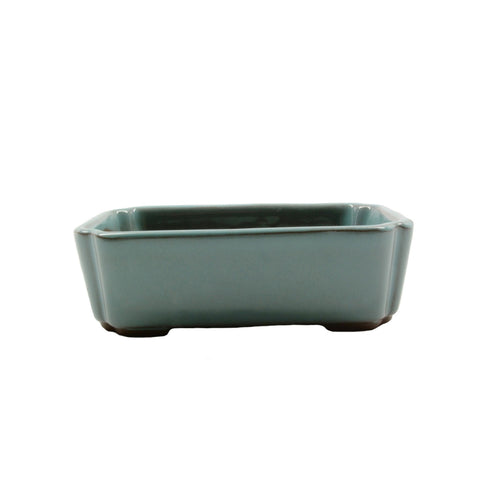 "4.1"" Tokoname Green Rectangular Indented Corners Pot"