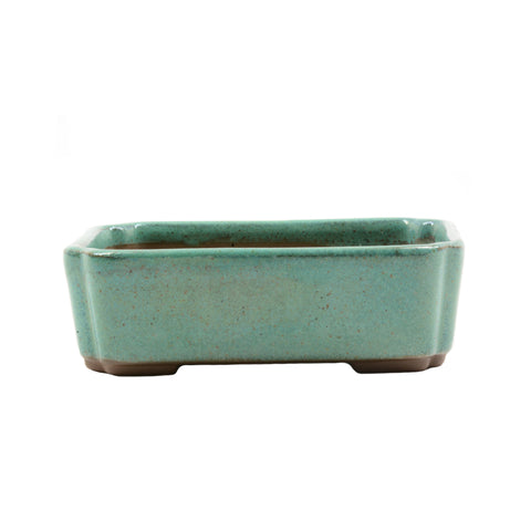 "4.1"" Tokoname Green Speckled Rectangular Indented Corners Pot"