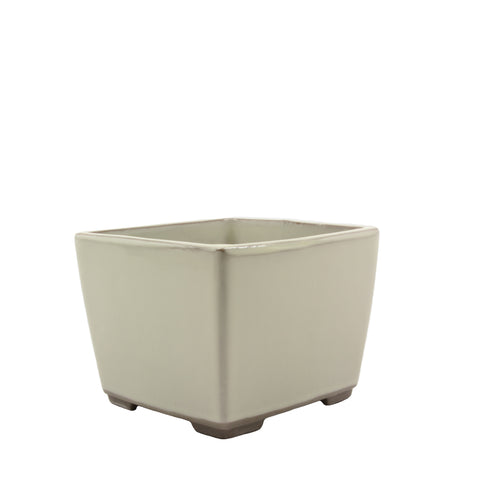 "4.5"" Tokoname Cream Square Glazed Pot"