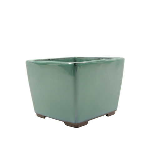 "4.5"" Tokoname Green Square Glazed Pot"