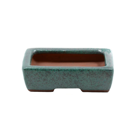 "2.5"" Yixing Green Speckled Minimalist Mame Rectangular Pot"