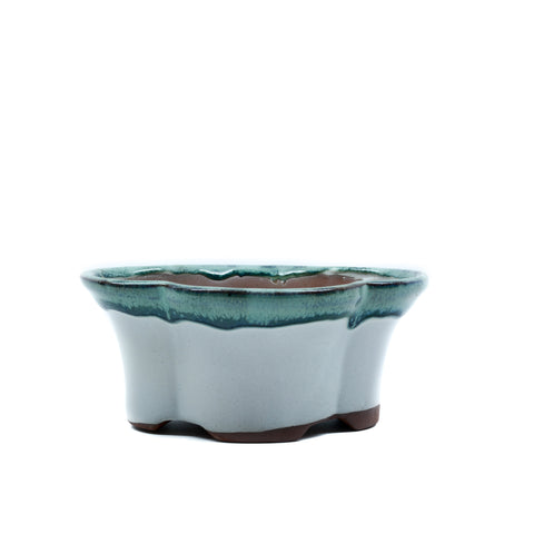 "5"" Yixing Green & White Lotus Shaped Pot"