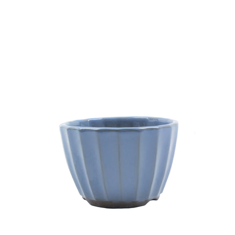 "4"" Tokoname Blue Ribbed Pot"