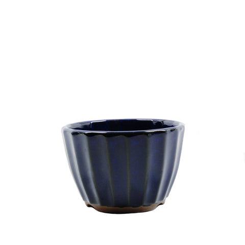 "4"" Tokoname Dark Blue Ribbed Pot"