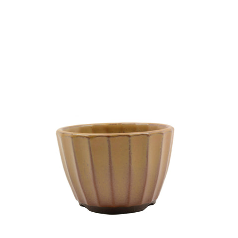"4"" Tokoname Yellow Ribbed Pot"