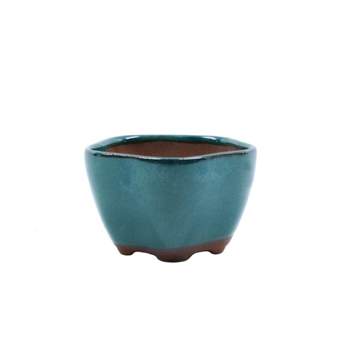 "3"" Yixing Green Pentagon Curved Pot"