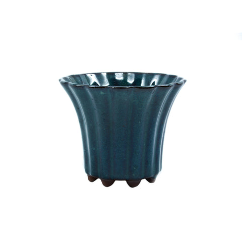 "3.4"" Yixing Mame Teal Ribbed Cascade Pot"