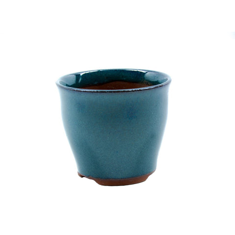 "2.75"" Yixing Glazed Round Green Mame Pot"
