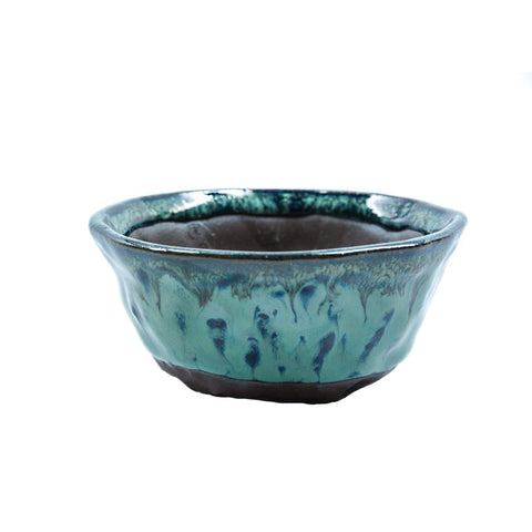 "3.75"" Yixing Green and Blue Flecked Glazed Round Pot"