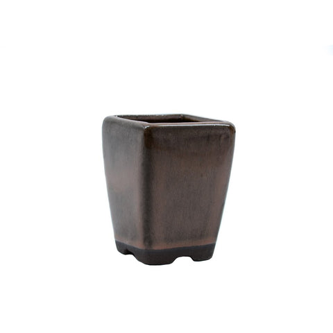 "2"" Yixing Brown Rounded Square Mame Pot"