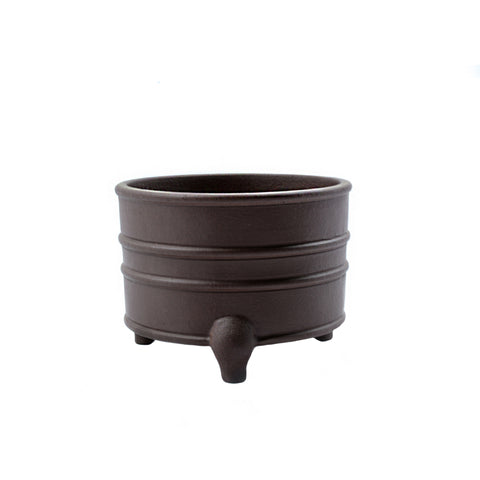 "3.75"" Yixing Dark Brown Ridged Cauldron Pot"