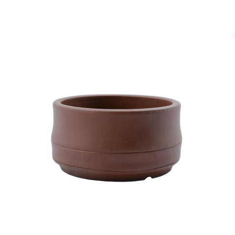"4"" Yixing Brown Banded Round Pot"