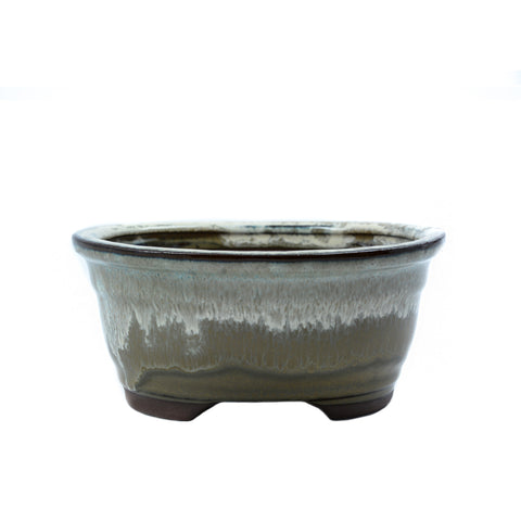 "6"" Yixing Green and White Glazed Oval Pot"
