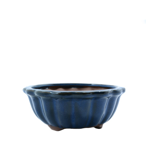 "6.75"" Yixing Blue Ribbed Round Pot"