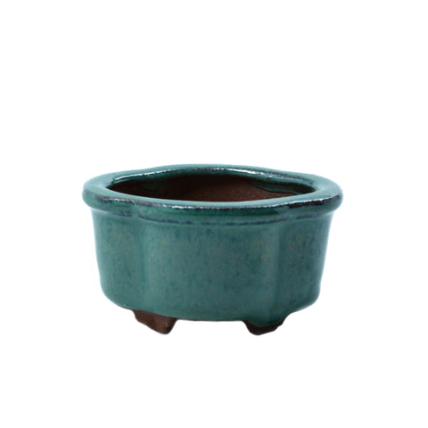 "2.6"" Yixing Green Mame Lotus Style Pot"