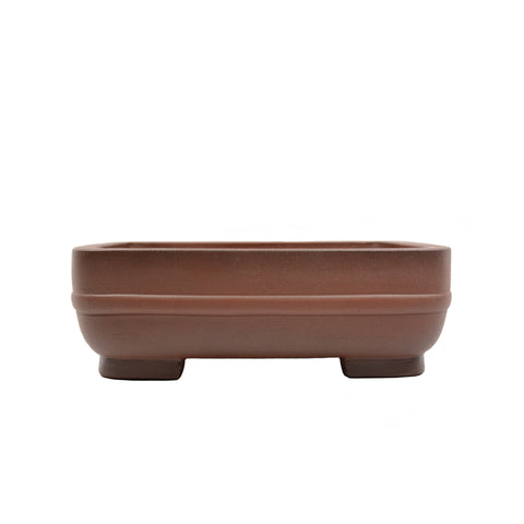 "12"" Yixing Two-Tone Brown Raised Band Rectangular Pot"