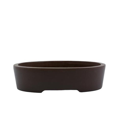 "6"" Yixing Brown Minimalist Oval Pot"