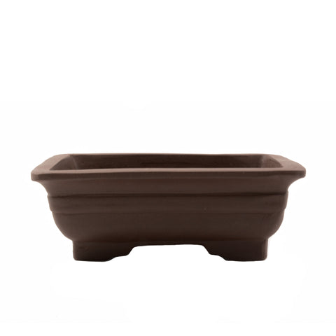 "6.25"" Yixing Brown Banded Rectangular Pot with Feet"