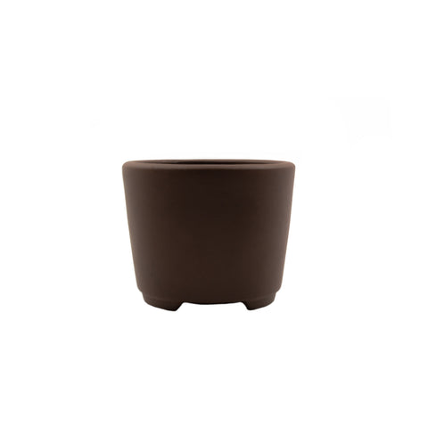 "3.75"" Yixing Brown Minimalist Round Pot"