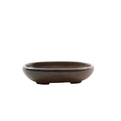 "4.4"" Tokoname Brown and Black Flecked Oval Pot"