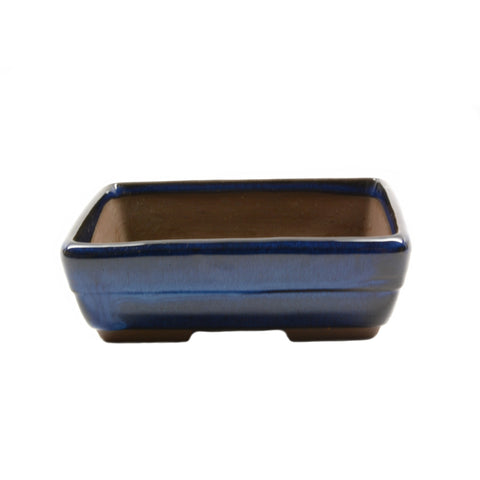 "4.6"" Tokoname Dark Blue Ridged Rectangular Pot"