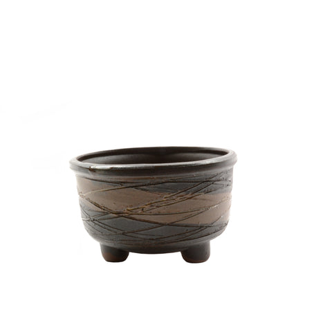 "4.1"" Yixing Dark Brown Etched Round Pot"