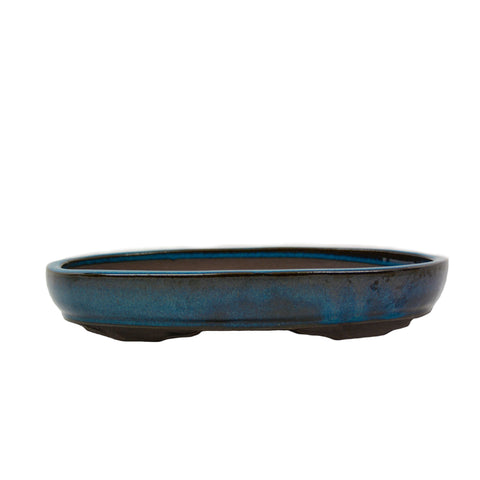 "11.6"" Yixing Blue Glazed Oval Pot"