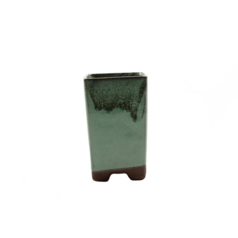 "2.1"" Yixing Green Glazed Tall Square Pot"