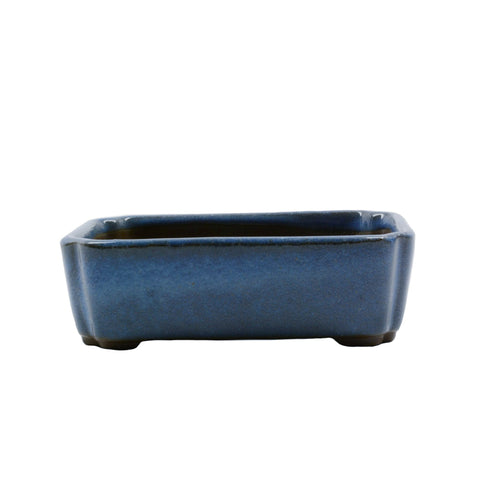 "4.1"" Tokoname Blue Rectangular Indented Corners Pot"