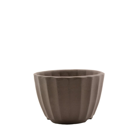 "4"" Tokoname Brown Ribbed Pot"