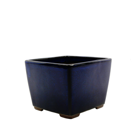 "4.5"" Tokoname Dark Blue Square Glazed Pot"