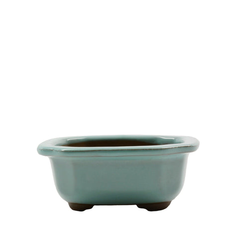 "3.75"" Tokoname Green Indented Corners Pot"
