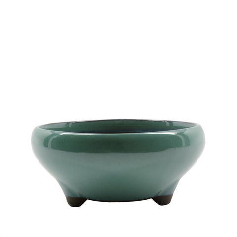 "6"" Tokoname Green Round Glazed Pot"