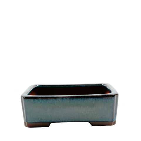 "5.75"" Yixing Green Shelled Indented Corners Rectangular Pot"