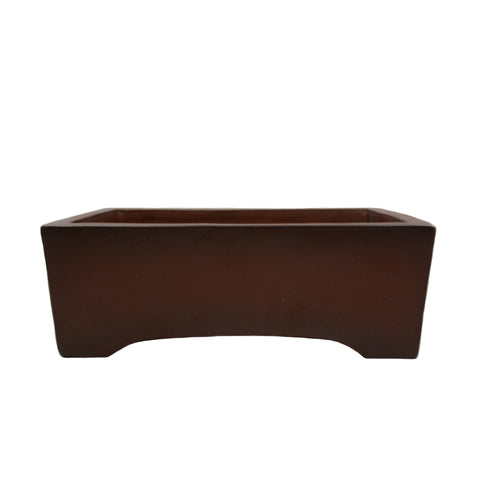 "12.25"" Yixing Brown Two-Tone Minimalist Rectangular Pot"