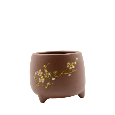 "3.75"" Yixing White Floral Inscribed Brown Cauldron Pot"