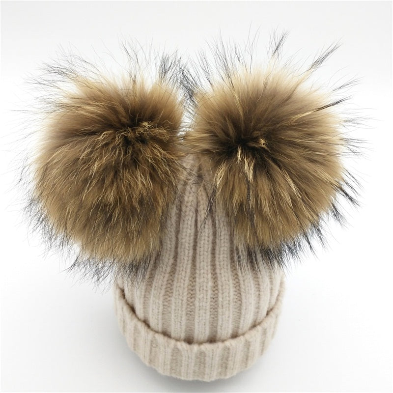 115a6525d1f7a ... Lanxxy Real Mink Fur Pompom Hat Women Winter Caps Knitted Wool Cotton  Hats Two Pom Poms ...