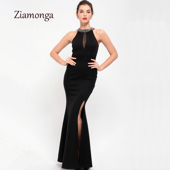 75337c37c5e Ziamonga M-XL Plus Size Dress Women Elegant Sexy Evening Party Dresses  Black Sequin Neck