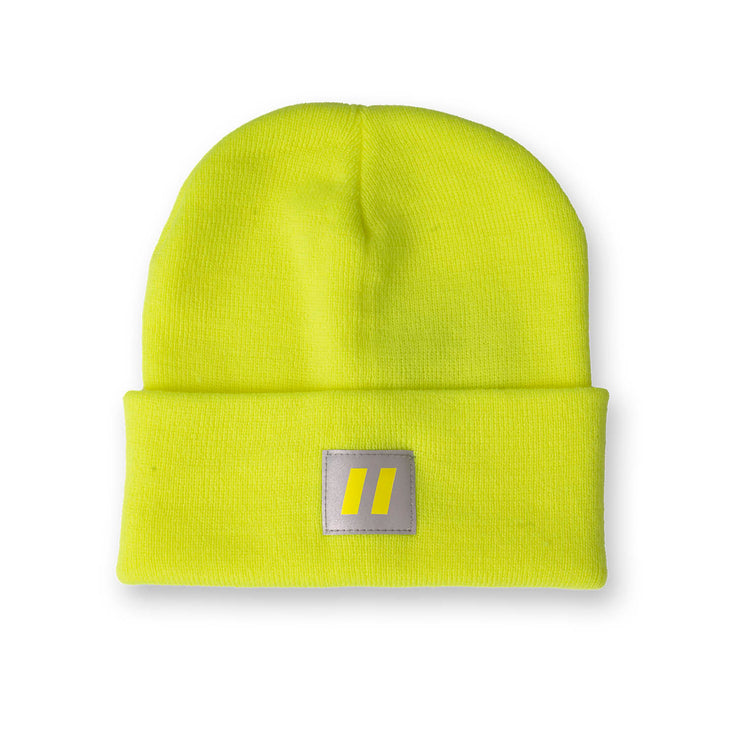 Hi Vis Lime Toque with Reflective Patch