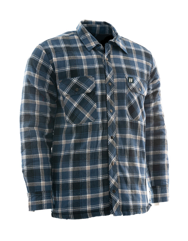 Blue Plaid Quilted Flannel Shirt