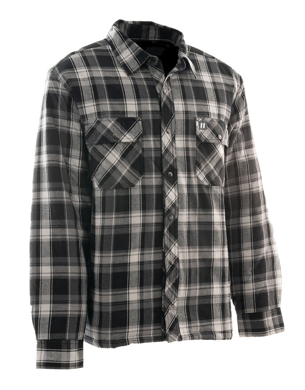 Grey Plaid Quilted Flannel Shirt