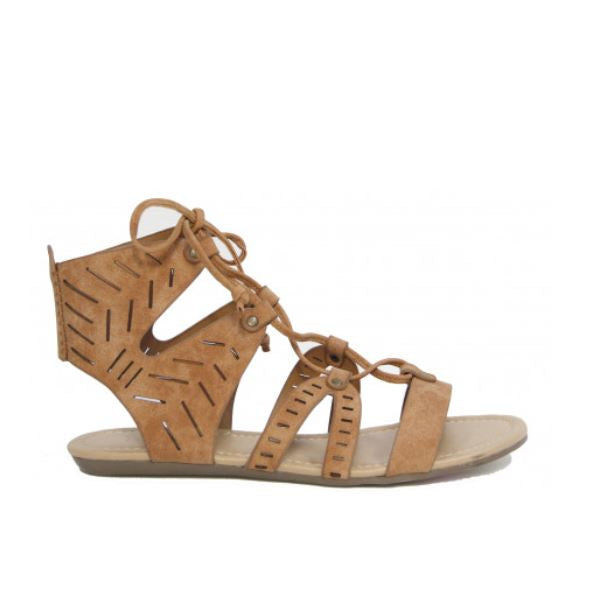 Jerico Flat strappy sandal in Tan