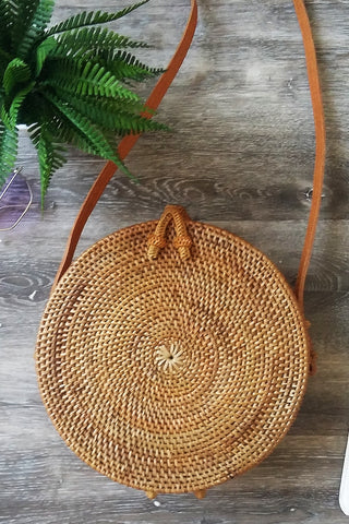 Black medium round cane bag