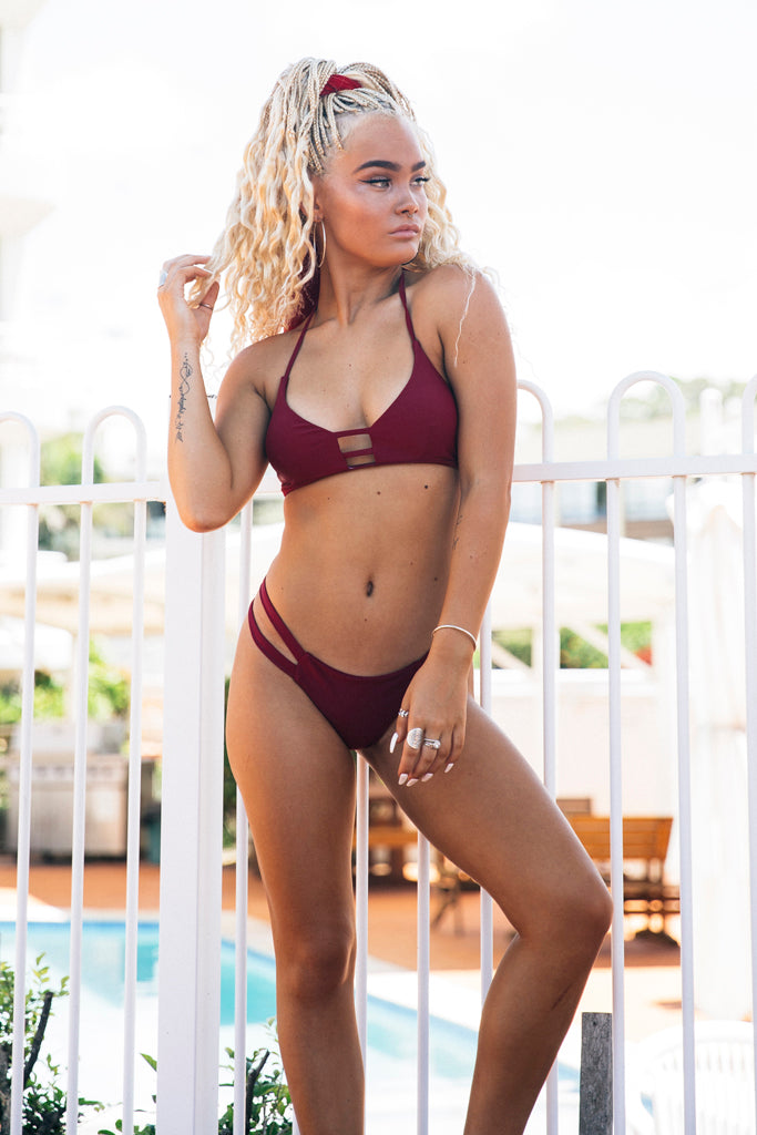 That Feeling Bikini Top in Burgundy